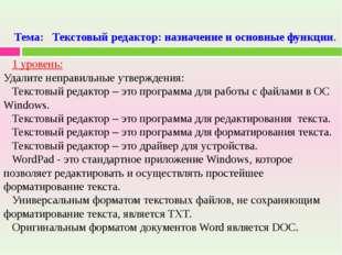 Тема: Текстовый редактор: назначение и основные функции. 1 уровень: Удалите н