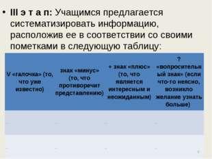 III э т а п: Учащимся предлагается систематизировать информацию, расположив е
