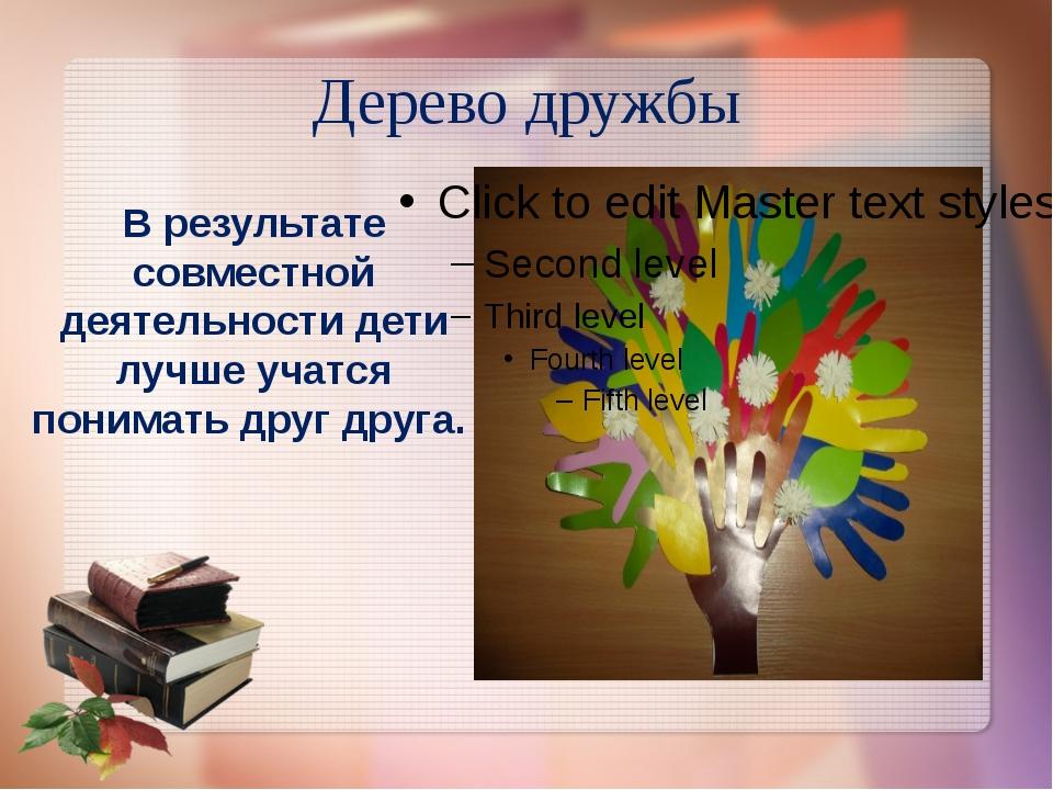 Дерево дружбы В результате совместной деятельности дети лучше учатся понимать...