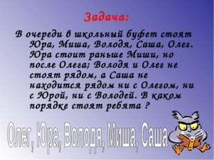 Задача: В очереди в школьный буфет стоят Юра, Миша, Володя, Саша, Олег. Юра с
