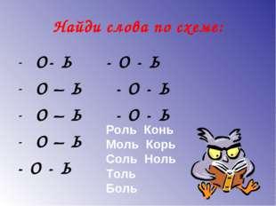 Найди слова по схеме: О- Ь - О - Ь О – Ь - О - Ь О – Ь - О - Ь О – Ь - О - Ь