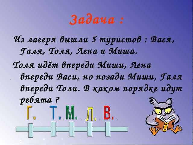 Задача : Из лагеря вышли 5 туристов : Вася, Галя, Толя, Лена и Миша. Толя идё...