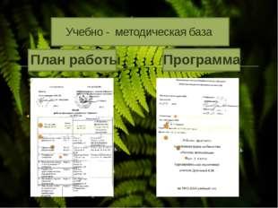 План работы Учебно - методическая база Программа