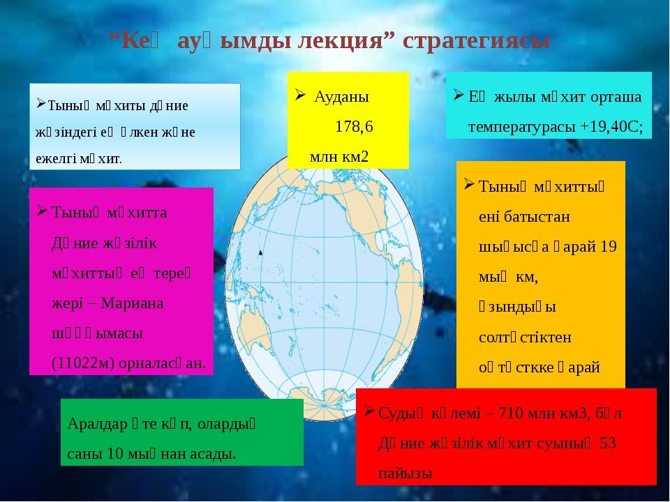 Тынық мұхиты дүние жүзіндегі ең үлкен және ежелгі мұхит. Ауданы 178,6 млн км2...