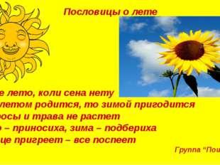 Пословицы о лете Худое лето, коли сена нету Что летом родится, то зимой приго