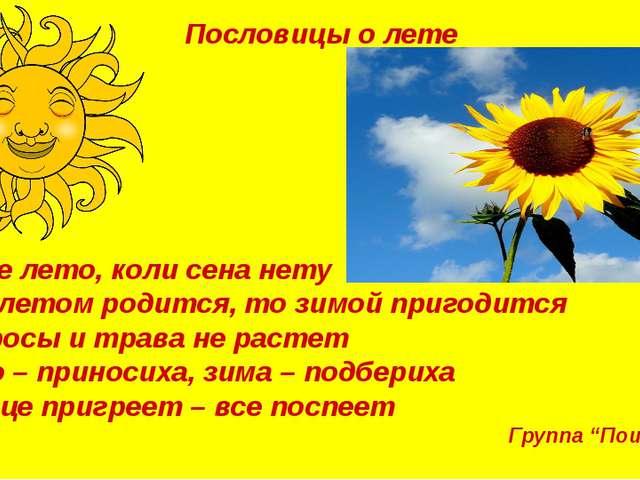 Пословицы о лете Худое лето, коли сена нету Что летом родится, то зимой приго...