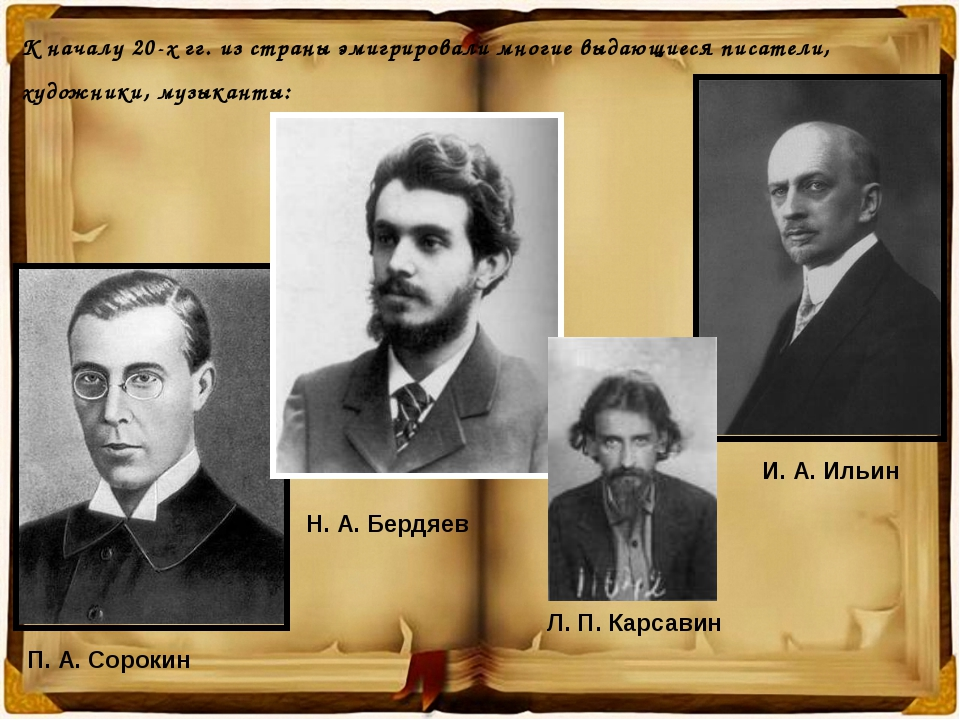 К началу 20-х гг. из страны эмигрировали многие выдающиеся писатели, художник...