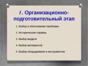 I. Организационно-подготовительный этап 1. Выбор и обоснование проблемы 2. Ис