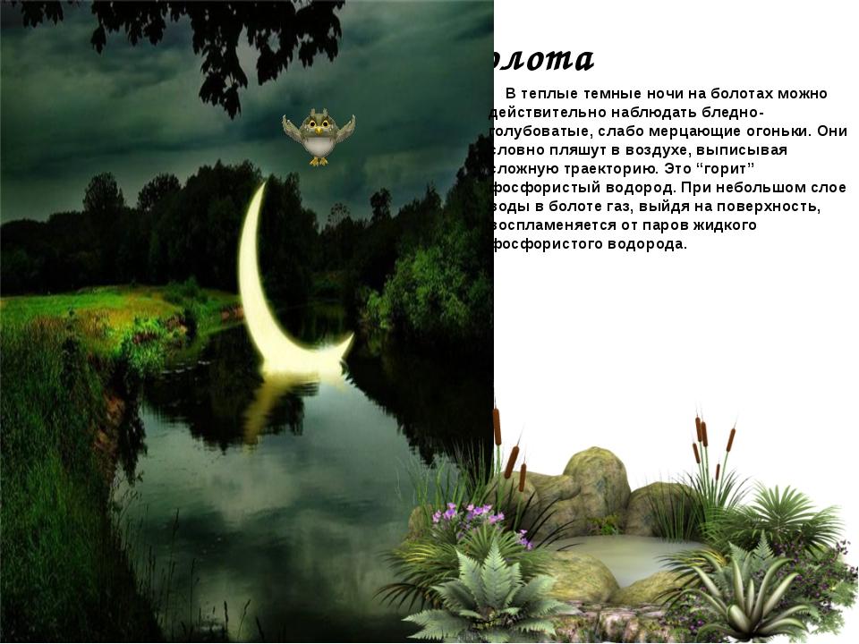 Тайны болота В теплые темные ночи на болотах можно действительно наблюдать бл...