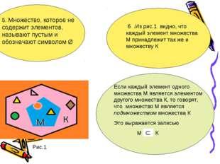 5. Множество, которое не содержит элементов, называют пустым и обозначают сим