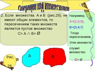 2. Если множества А и В (рис.2б). не имеют общих элементов, то пересечением т