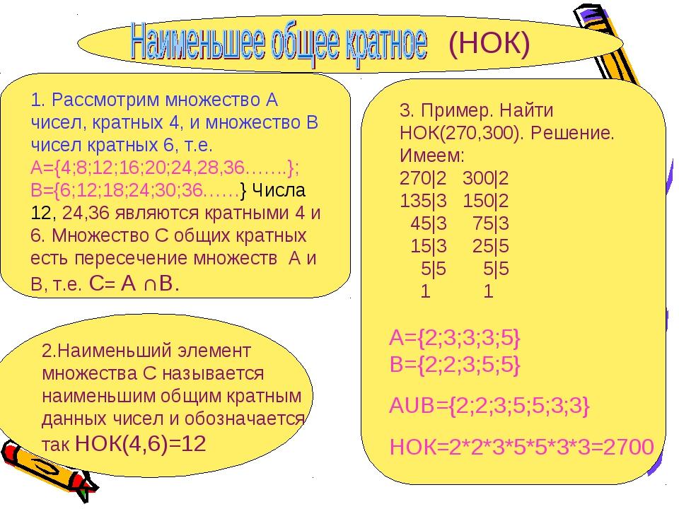 1. Рассмотрим множество А чисел, кратных 4, и множество В чисел кратных 6, т....