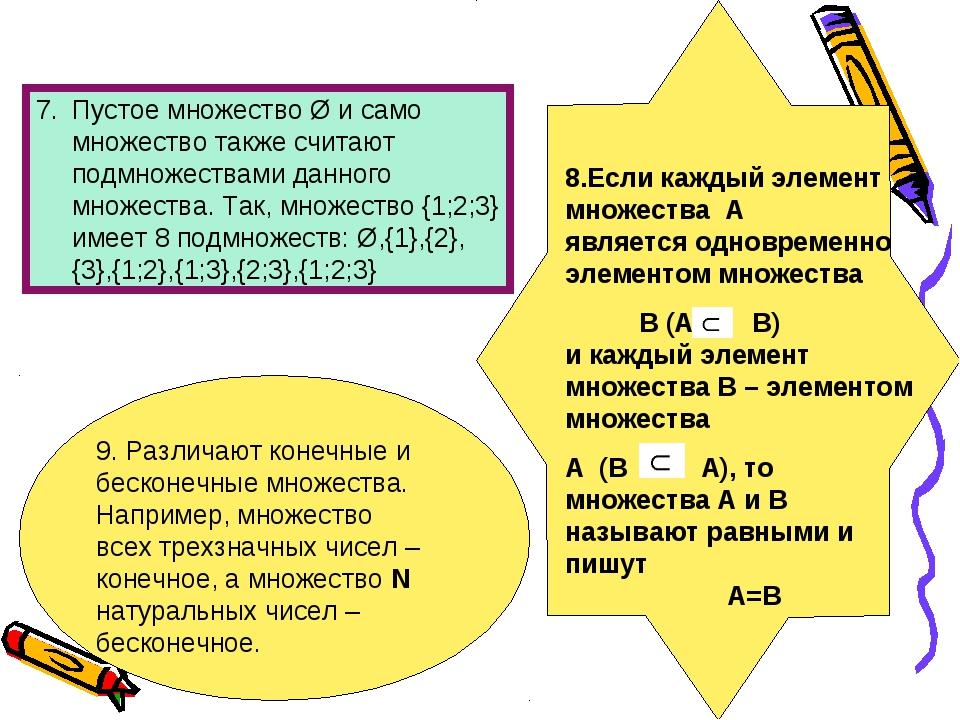 Пустое множество Ø и само множество также считают подмножествами данного множ...
