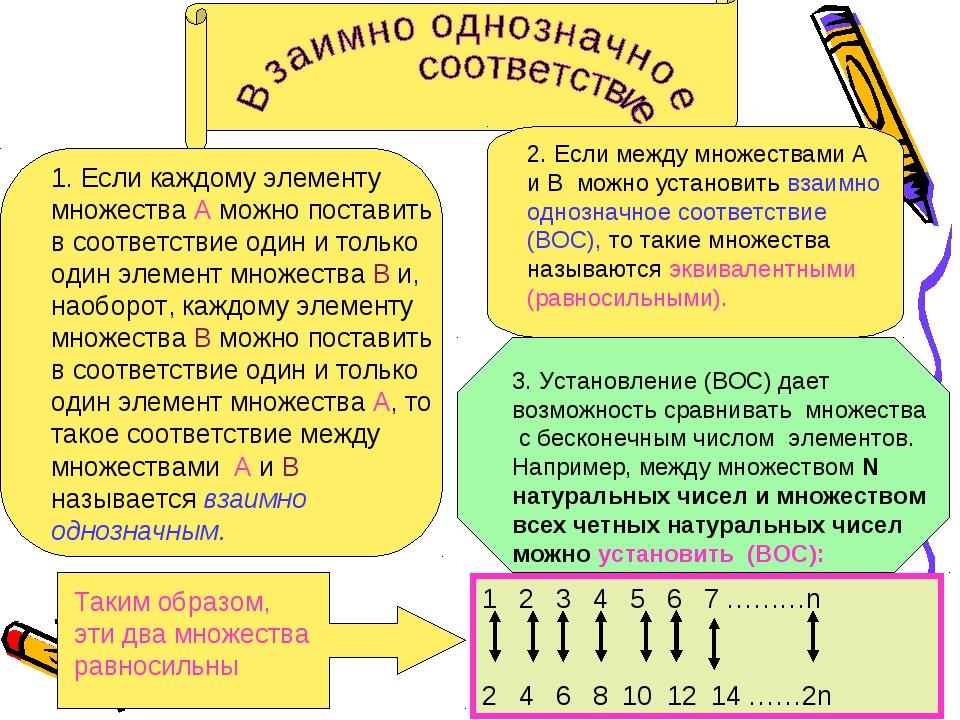 1. Если каждому элементу множества А можно поставить в соответствие один и то...