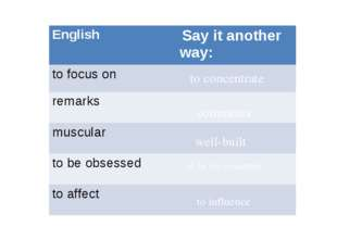 to concentrate comments well-built to be too concerned to influence English