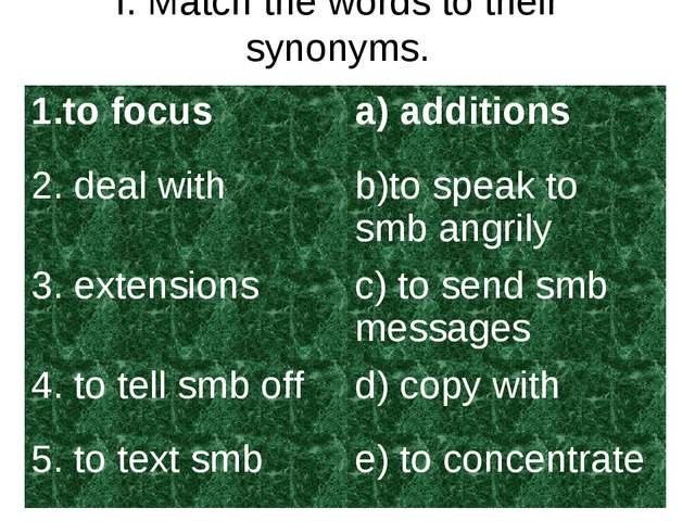 I. Match the words to their synonyms. 1.to focusa) additions 2. deal withb)...