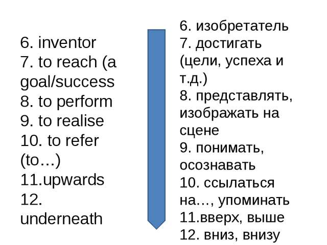 6. inventor 7. to reach (a goal/success 8. to perform 9. to realise 10. to re...