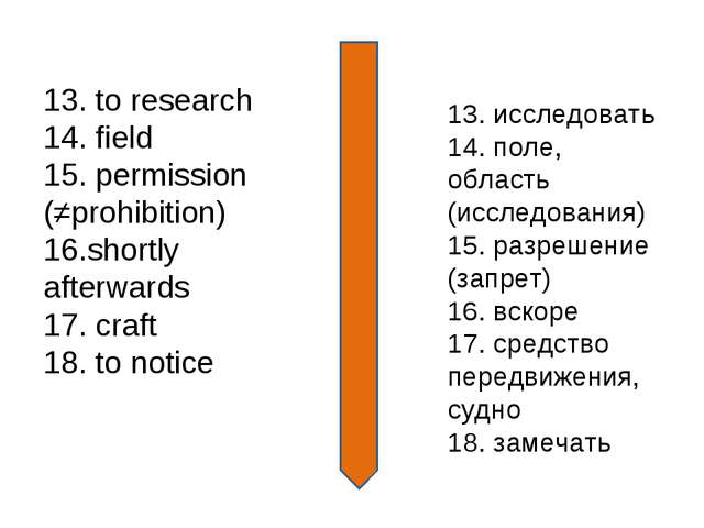 13. to research 14. field 15. permission (≠prohibition) 16.shortly afterwards...