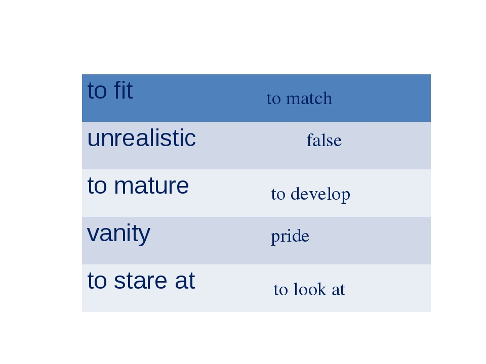 to match false to develop pride to look at to fit unrealistic to mature va...