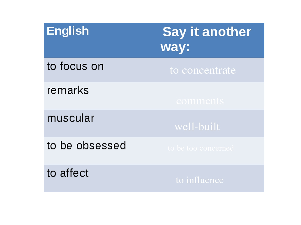 to concentrate comments well-built to be too concerned to influence English...