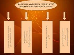 ФАКТОРЫ РАЗМЕЩЕНИЯ ПРЕДПРИЯТИЙ ЧЕРНОЙ И ЦВЕТНОЙ МЕТАЛЛУРГИИ: Сырьевой (в райо