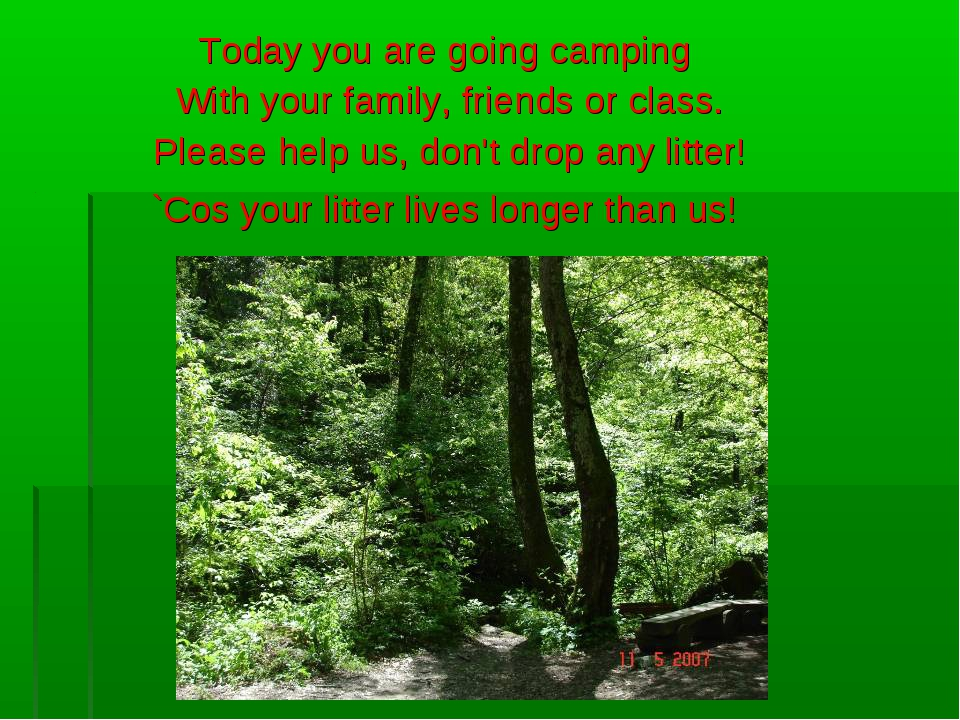Today you are going camping With your family, friends or class. Please help u...