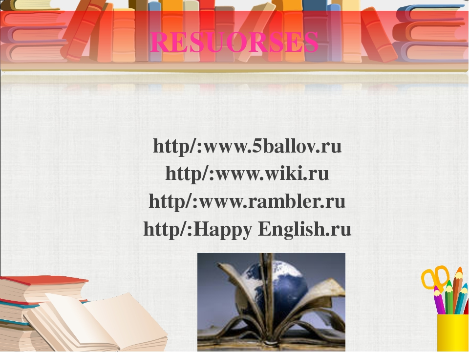 RESUORSES http/:www.5ballov.ru http/:www.wiki.ru http/:www.rambler.ru http/:H...