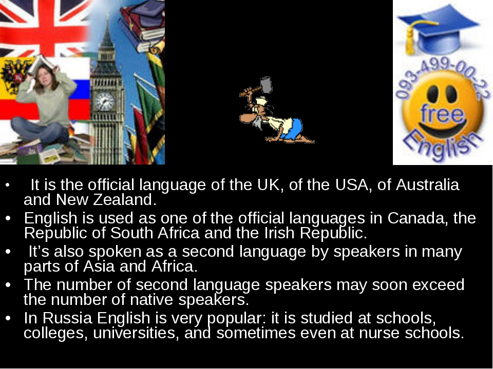 It is the official language of the UK, of the USA, of Australia and New Zeal...