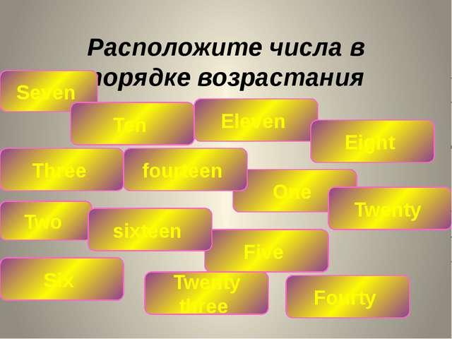 Расположите числа в порядке возрастания Seven Ten Eleven Three Five Eight Two...