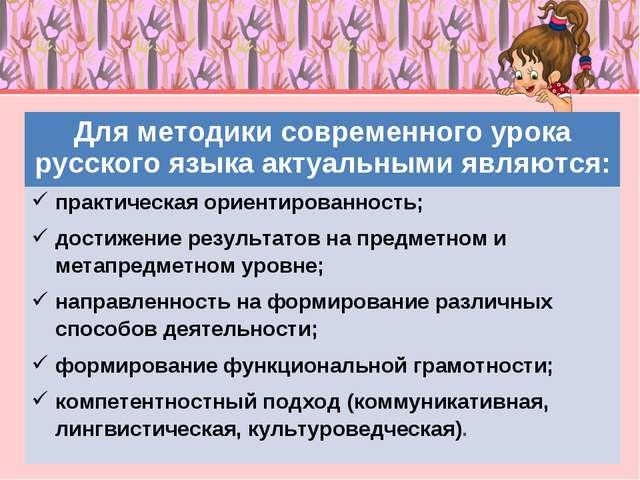 Для методики современного урока русского языка актуальными являются: практиче...