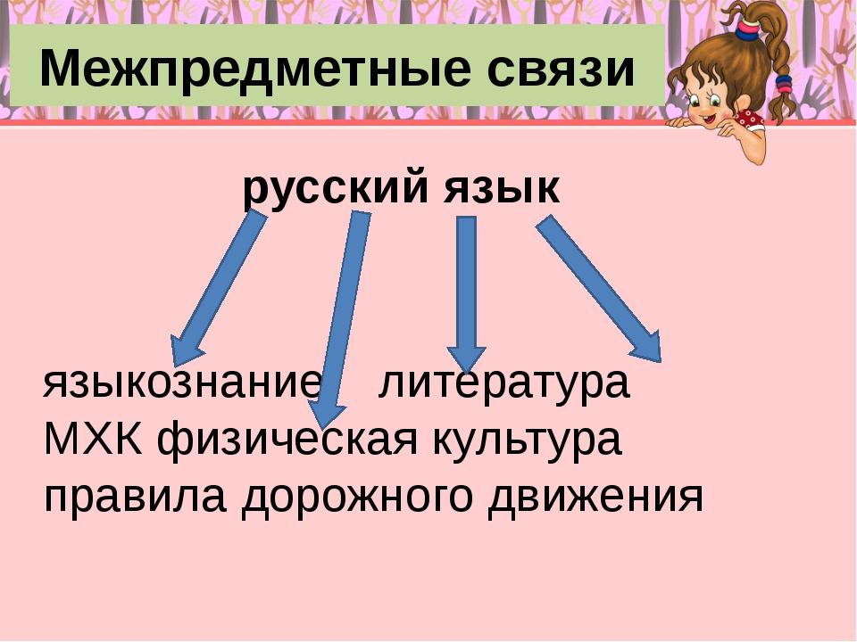 Межпредметные связи русский язык языкознание литература МХК физическая культу...