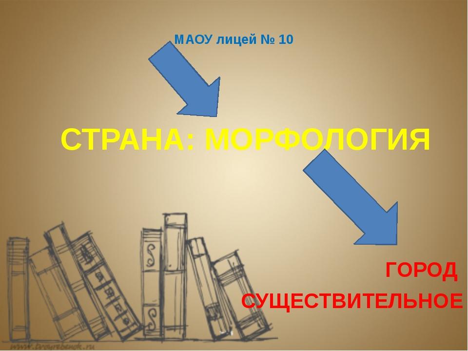 МАОУ лицей № 10 СТРАНА: МОРФОЛОГИЯ ГОРОД СУЩЕСТВИТЕЛЬНОЕ