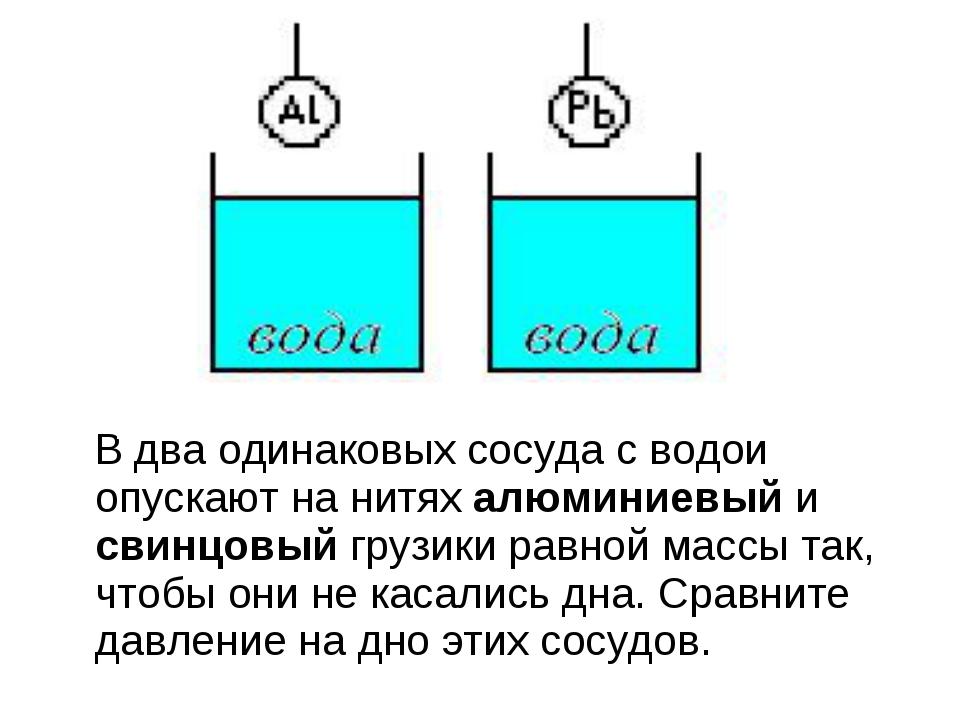 В два одинаковых сосуда с водой опускают на нитях алюминиевый и свинцовый гр...