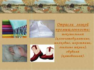 Отрасли легкой промышленности: текстильная (хлопчатобумажные, шелковые, шерст