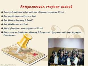 Актуализация опорных знаний Что представляет собой рабочая область программы