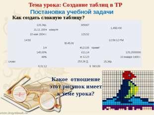 Постановка учебной задачи Как создать сложную таблицу? Тема урока: Создание т