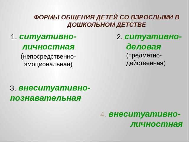 ФОРМЫ ОБЩЕНИЯ ДЕТЕЙ СО ВЗРОСЛЫМИ В ДОШКОЛЬНОМ ДЕТСТВЕ 4. внеситуативно- личн...