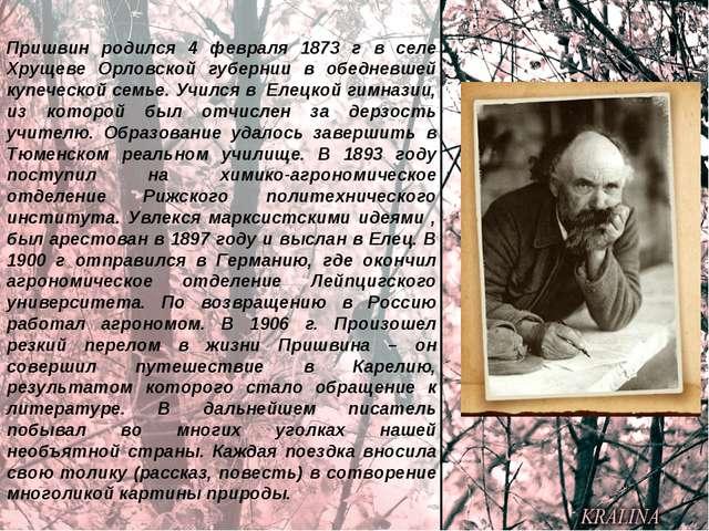 Пришвин родился 4 февраля 1873 г в селе Хрущеве Орловской губернии в обедневш...