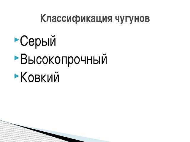 Серый Высокопрочный Ковкий Классификация чугунов