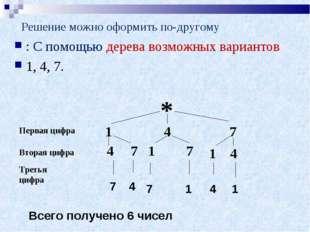 Решение можно оформить по-другому : С помощью дерева возможных вариантов 1, 4