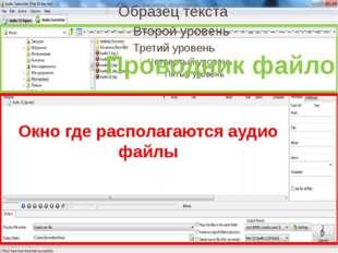 Окно где располагаются аудио файлы Проводник файлов