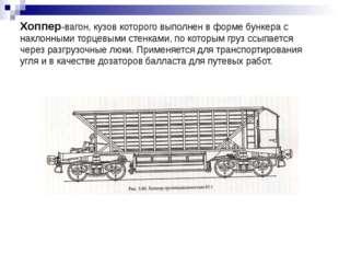 Хоппер-вагон, кузов которого выполнен в форме бункера с наклонными торцевыми