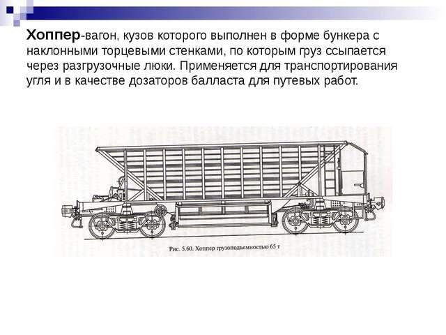 Хоппер-вагон, кузов которого выполнен в форме бункера с наклонными торцевыми...