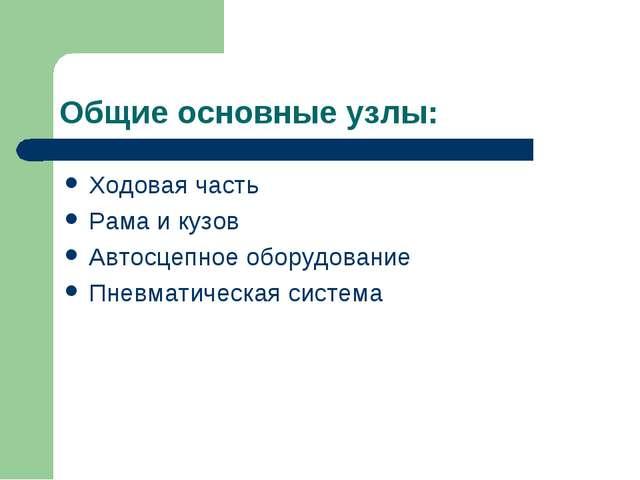 Общие основные узлы: Ходовая часть Рама и кузов Автосцепное оборудование Пнев...