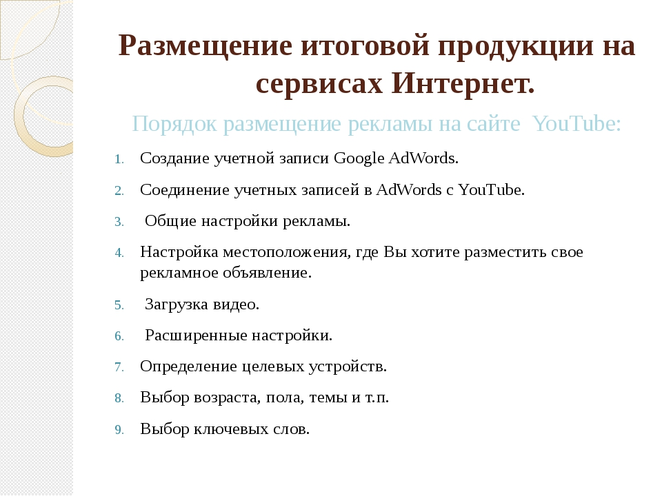 Размещение итоговой продукции на сервисах Интернет. Порядок размещение реклам...