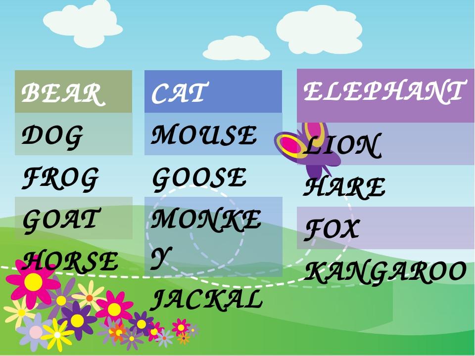 BEAR DOG FROG GOAT HORSE CAT MOUSE GOOSE MONKEY JACKAL ELEPHANT LION HARE FO...