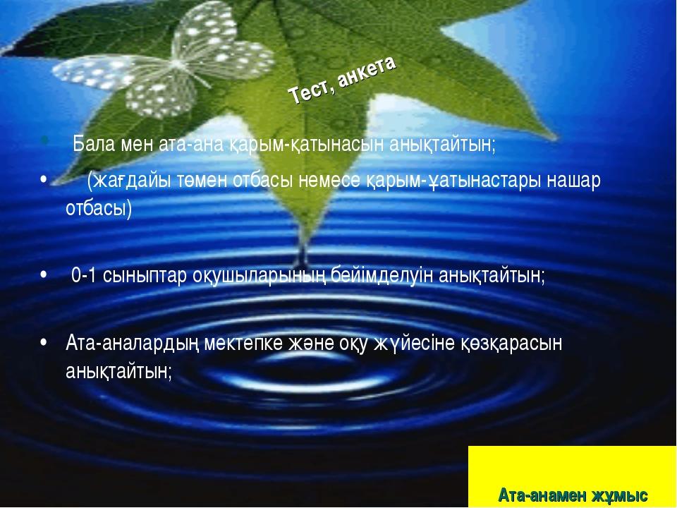 Ата-анамен жұмыс Бала мен ата-ана қарым-қатынасын анықтайтын; (жағдайы төмен...
