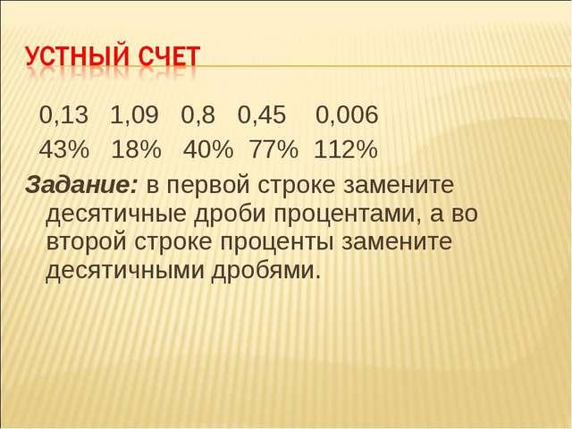 0,13 1,09 0,8 0,45 0,006 43% 18% 40% 77% 112% Задание: в первой строке замен...