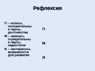 Рефлексия П – «плюс», положительные черты, достоинства М – «минус», отрицате