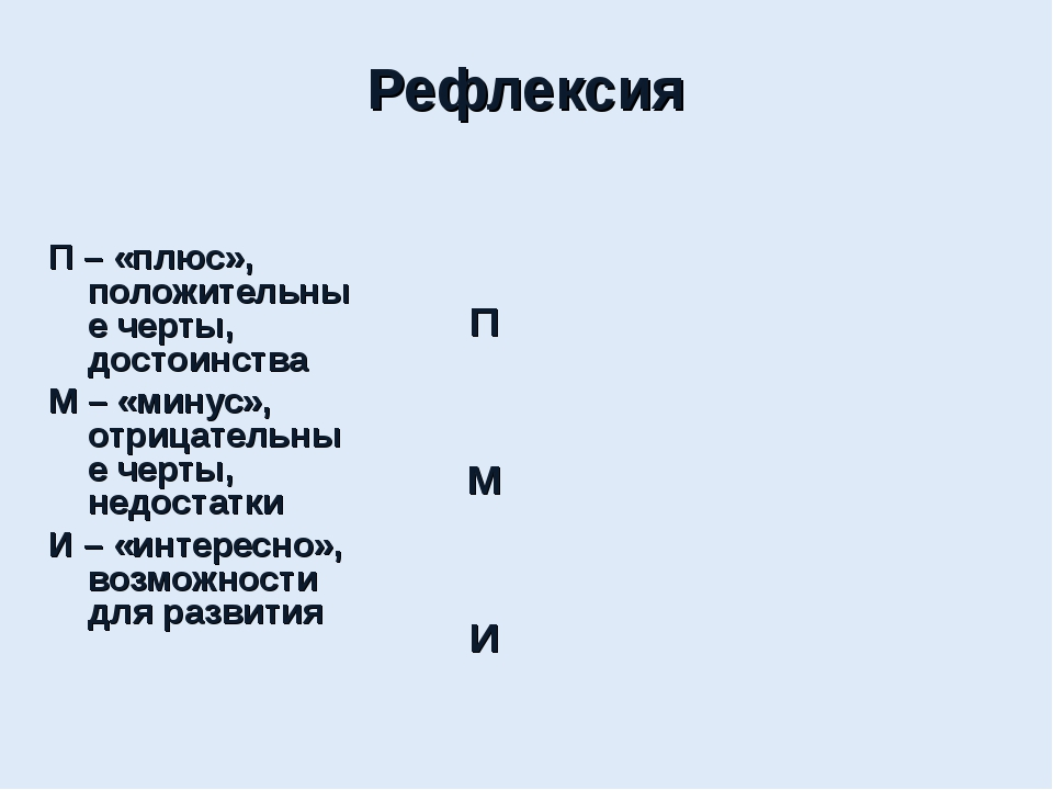 Рефлексия П – «плюс», положительные черты, достоинства М – «минус», отрицате...
